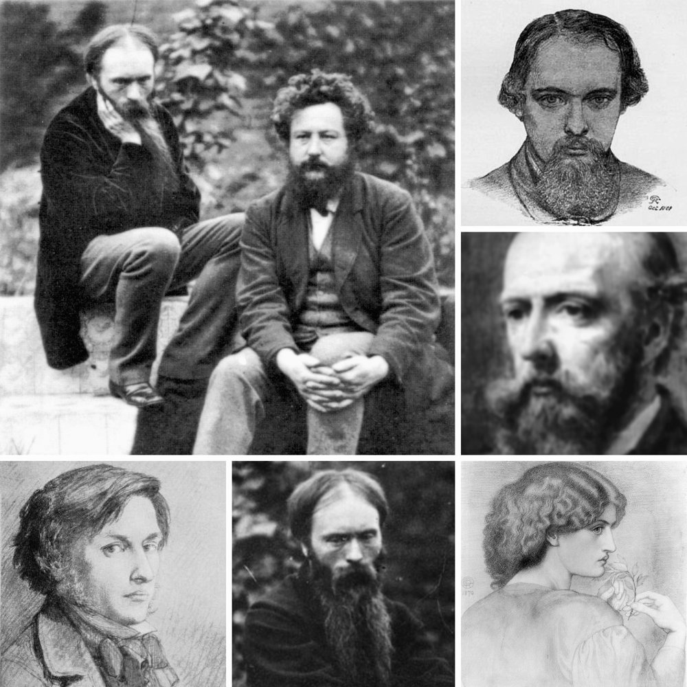 Von links nach rechts: Edward Burne-Jones, William Morris, Dante Gabriel Rossetti, Philip Webb, Ford Madox Brown, Jane Burden Morris